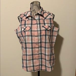 EUC Wrangler Tank Top sz Lg pink plaid